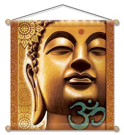 "15"" X 15"" Golden Buddha Mandala Meditation Banner"