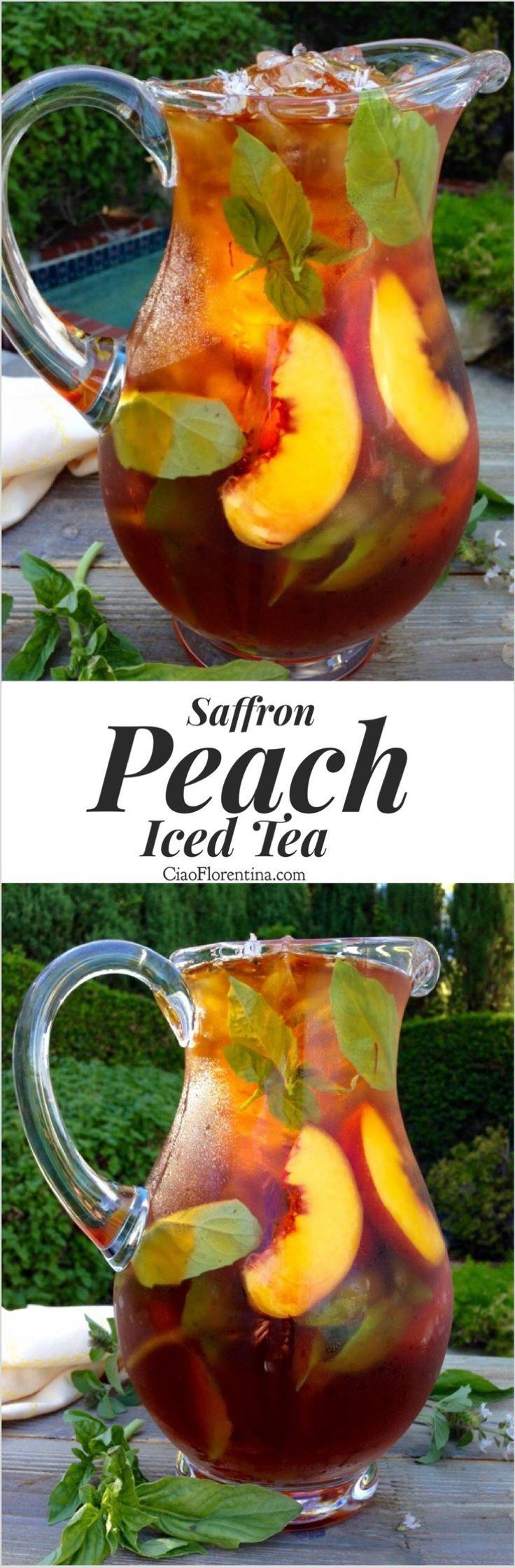 Healthy Skin Saffron Peach Iced Tea with Basil and Honey   CiaoFlorentina.com @CiaoFlorentina.com