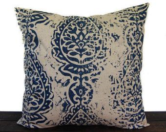 Navy Blue pillow cover, throw pillow, one navy and beige cushion cover pillow sham Manchester modern home decor