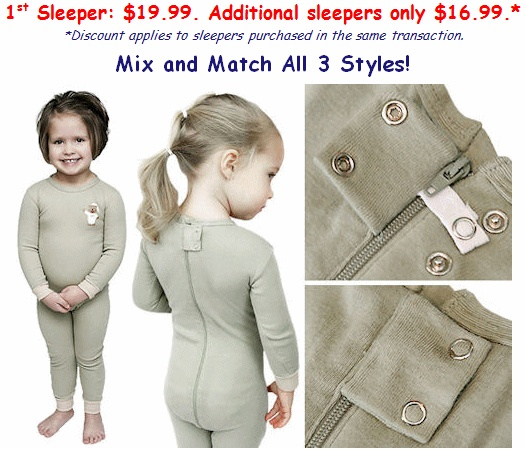 Ella is constantly taking off her pj's at night and wetting the bed...I have been safety pinning the zipper, but I am afraid she might figure out how to un-fasten the pin and hurt herself.  I just came across these awesome pajamas with the zipper in the back!  I can't wait to get some! I'll let you know if I like them!