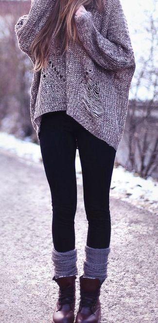Women's Grey Knit Oversized Sweater, Black Leggings, Burgundy Leather Boots, Grey Knee High Socks #women #winter #fashion