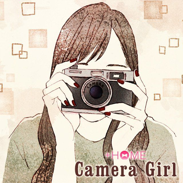 """Camera Girl""   Watch out! You're on camera! Download this cool theme today!  Download Now:http://bit.ly/2mOMY8R  #cute #wallpaper #design #icon #girl #plushome #homescreen #widget #deco"