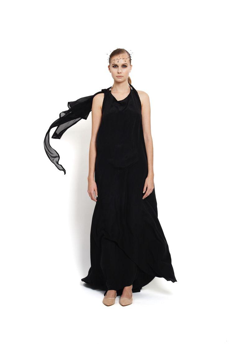 occasion silk wrap dress with small trail, design Lucie Kutálková/ LEEDA store