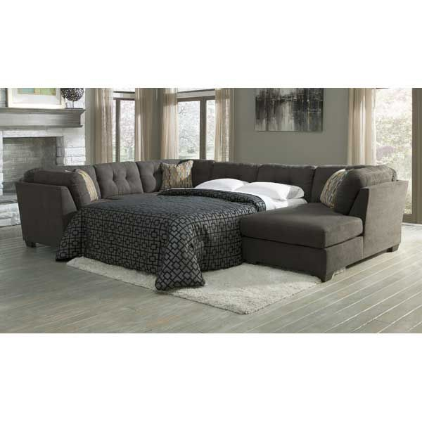 American Family Furniture Sectionals: 3PC Sleeper RAF Chaise- Steel