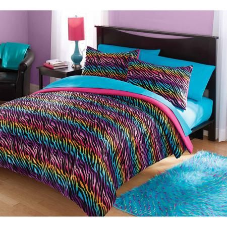 your zone mink rainbow zebra bedding comforter set - Walmart.com