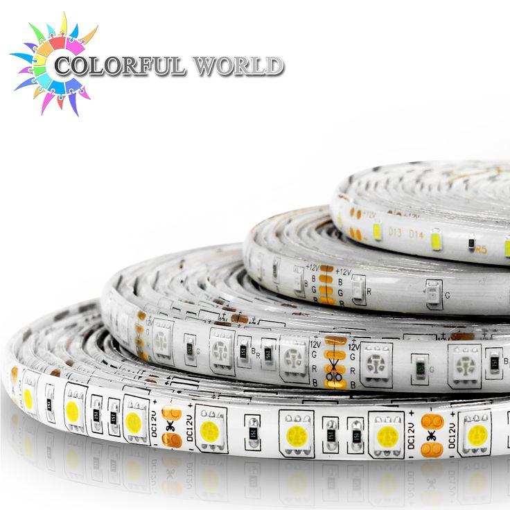 5 M LED bande 3528 5050 60 pcs/m DC12V LED Lumière RVB Froid blanc jaune rouge vert bleu blanc Chaud