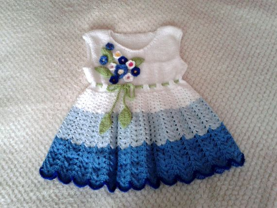 Crochet baby dress by BarbarasArtHand on Etsy