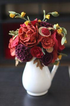 Wool Felt Flowers in Vase