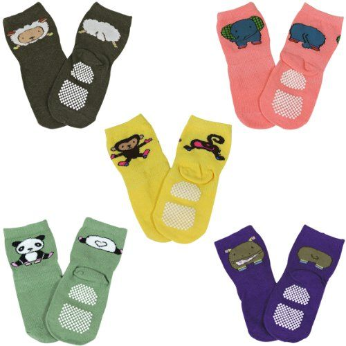 Wrapables Animal Fun Non-Skid Baby Socks (Set of 5)