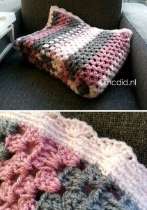 Cute granny-stripes blanket, but website is in german (?) swedish (?)...