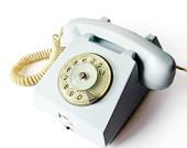 Light Blue Green Rotary phone - 1972 Vintage European Rotary Telephone - Retro Rotary Phone - East Europe Made in Romania