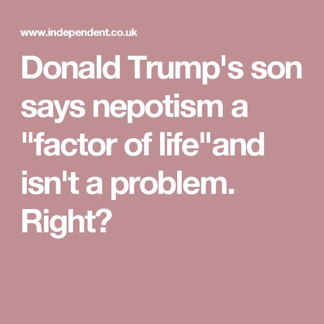 """Donald Trump's son says nepotism a """"factor of life""""and isn't a problem."""" Right?"""