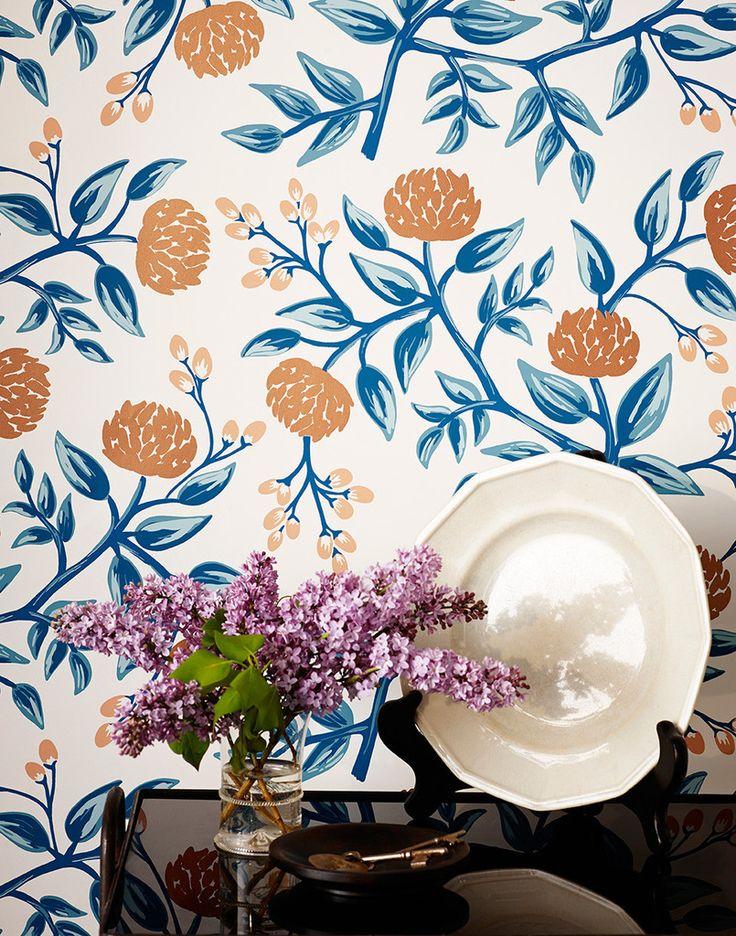Peonies (Pale Blue) Hygge & West, wallpaper Copper
