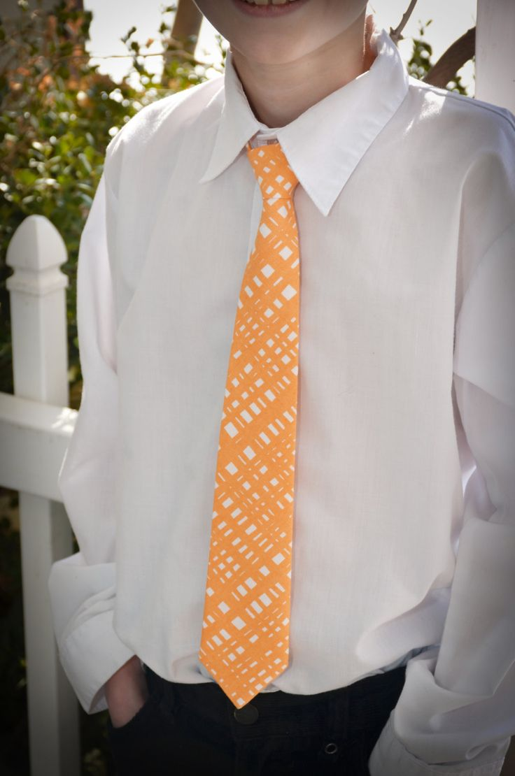 Boys Orange and White Neck Tie by sewsocutie on Etsy