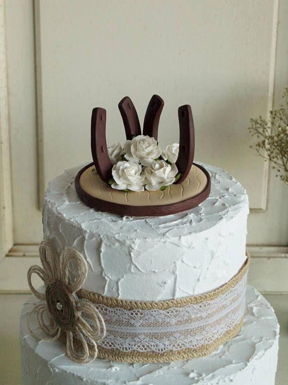 Rose Horseshoe Cake Topper Rustic Style Cake Topper With Double