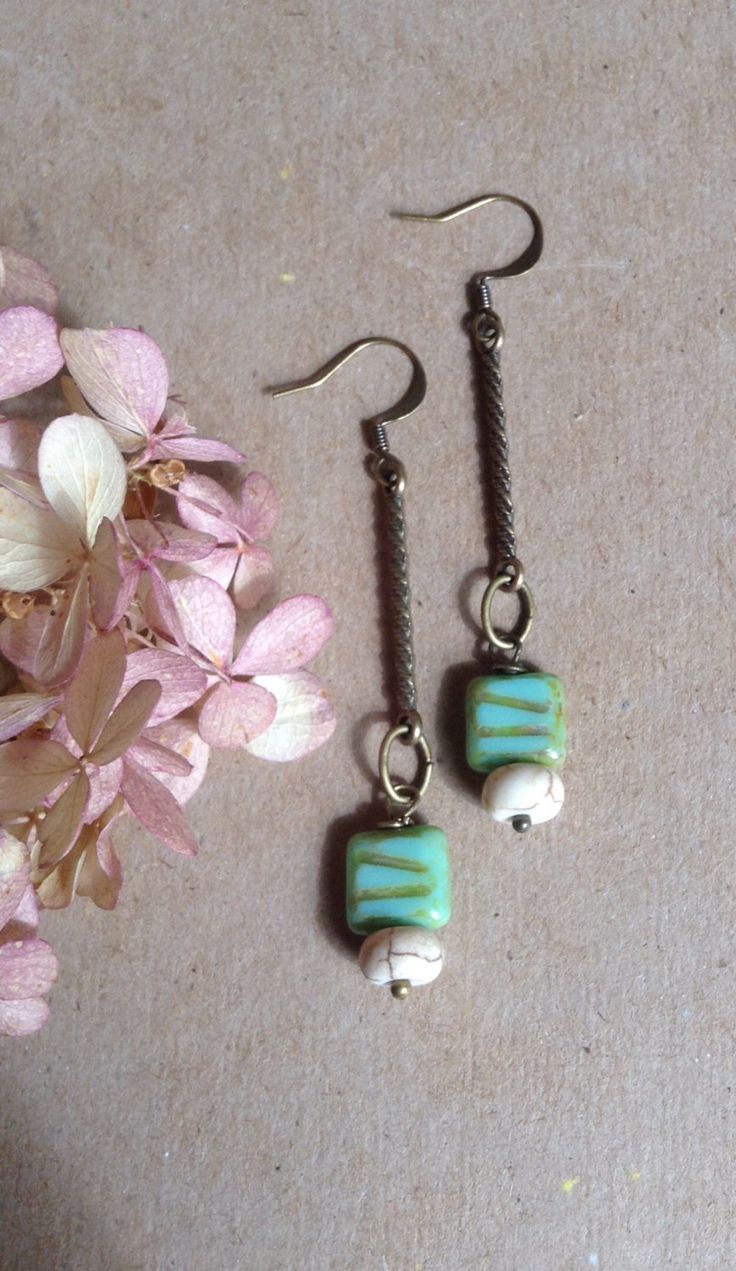Turquoise Picasso Carved Czech Bead Earrings... by 1840VintageLane on Etsy