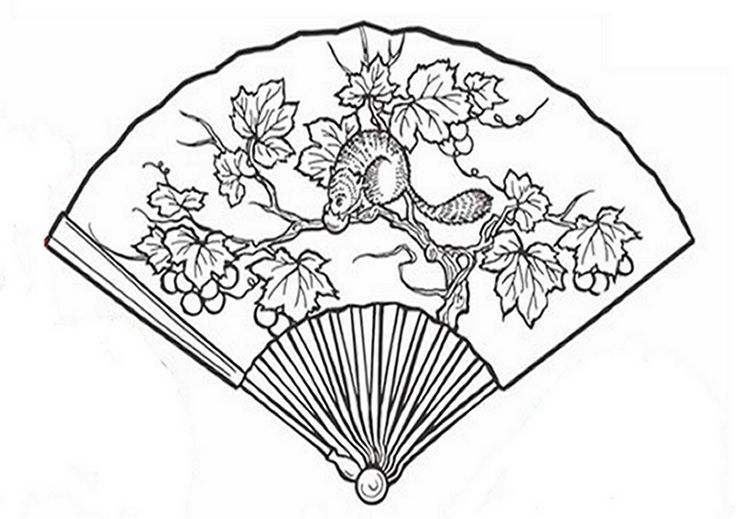 fan coloring pages - chinese fan coloring page sketch coloring page