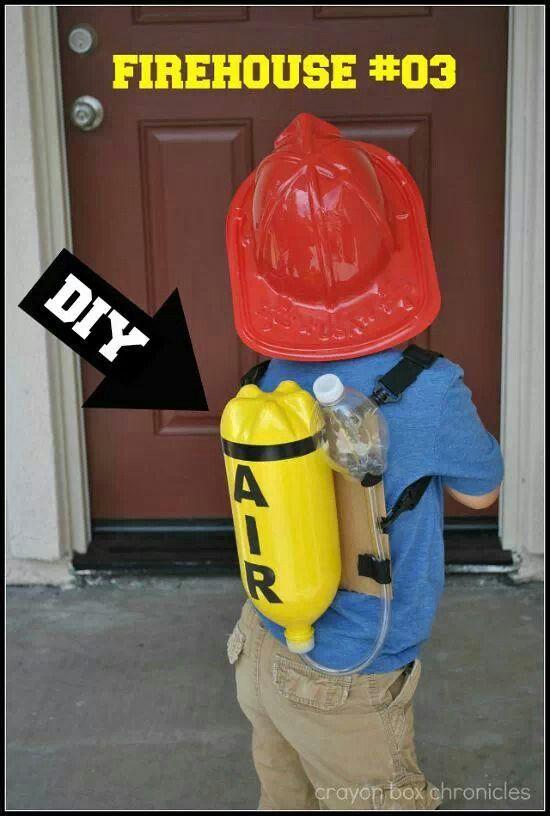 Cutest diy little boys fireman play costume!