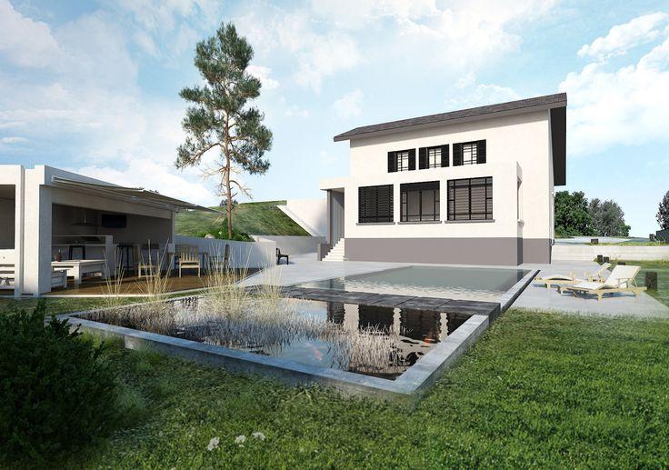 EXTERIEUR Maison Voiron (Isère - 38) / Piscine - Cuisine d'été - Poolhouse // Aménagement paysagé réalisé par CADYPSO (Architecture d'intérieur - Agencement Magasins - ERP - Particuliers)