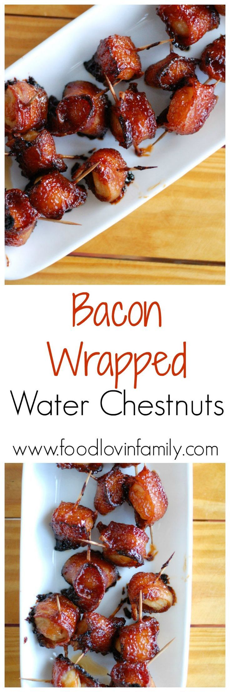 Water chestnuts wrapped in bacon with the most delicious sauce drizzled over top. These bacon wrapped water chestnuts are always the first thing to go at a party. These are my all time favorite appetizer to serve. Make sure to make a double batch. Click t