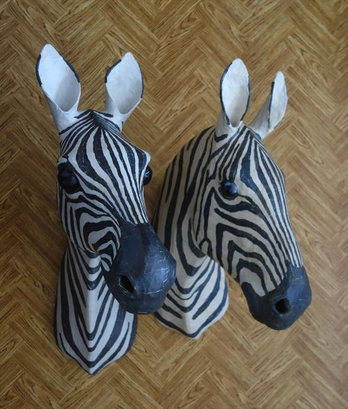 2016 & 2013 - Handmade paper mache zebras. Made from recycled newspapers.  #paper #mache #handmade #anoukmaes #zebra