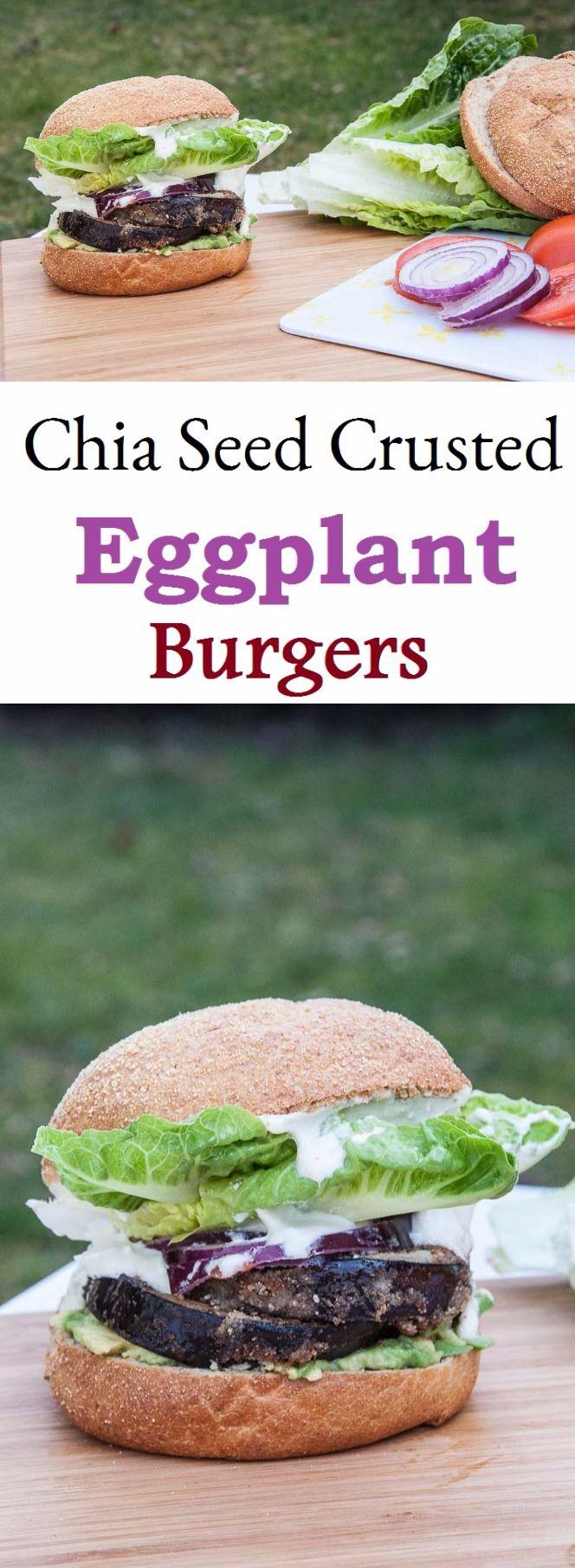 Chia semences croûte aubergine Burger Burger d'aubergine en croûté saupoudré de graînes de chia.