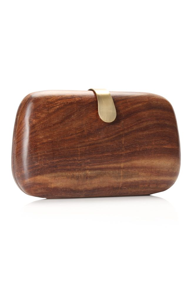 WOOD BOX CLUTCH by french connection. i always wanted to remake those vintage purses of mine in wood. #wood #bags