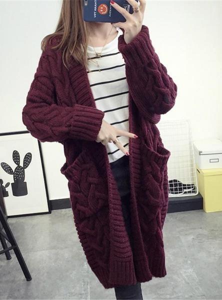 Women Cardigans Female V-Neck Knitted Jacket in 2018  96b7bfdaa