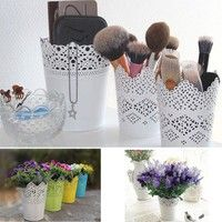 Wish | CHIC Lace Plant Flower Vase Pot Pen Makeup Brush Storage Holder Desk Organizer