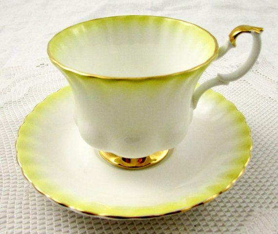 Royal Albert Tea Cup and Saucer Yellow Rainbow Series, Vintage Bone China