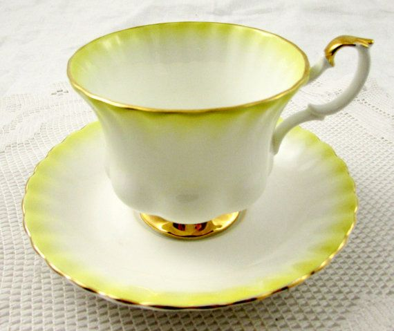 Royal Albert Tea Cup and Saucer Yellow Rainbow Series, Vintage Bone China