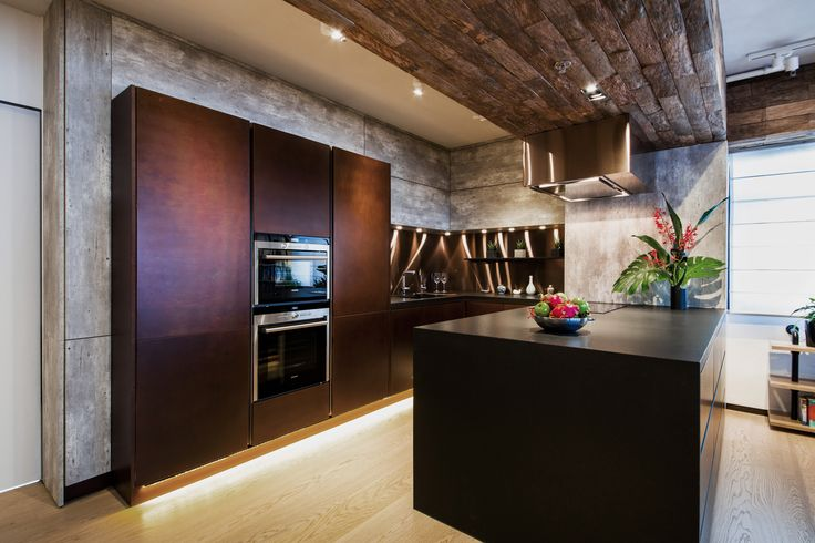 Vivid eco health show flat, Hong Kong by Liquid Interiors - kitchen design, kitchen cabinet door, loft design, wood beam, concrete, wine cabinet, built in oven, island cabinet, plant, LED under kitchen cabinet, eco interior design, sustainable interior design, Vivid living, energy saving lighting, water purifying, in room recycling, reclaimed wood, ship wood,