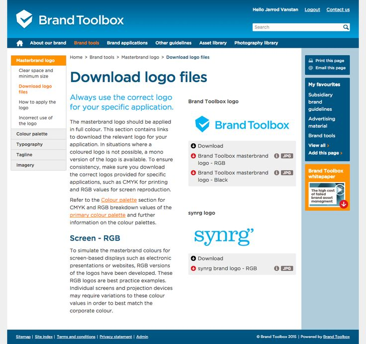 Brand Toolbox Content Management System (CMS) - Download Logo page