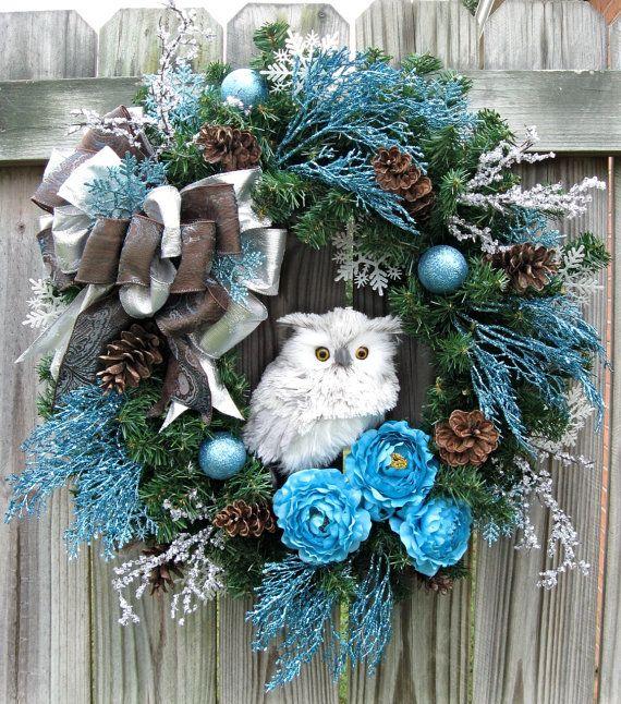 Snow Owl Family Winter Christmas Wreath White by IrishGirlsWreaths