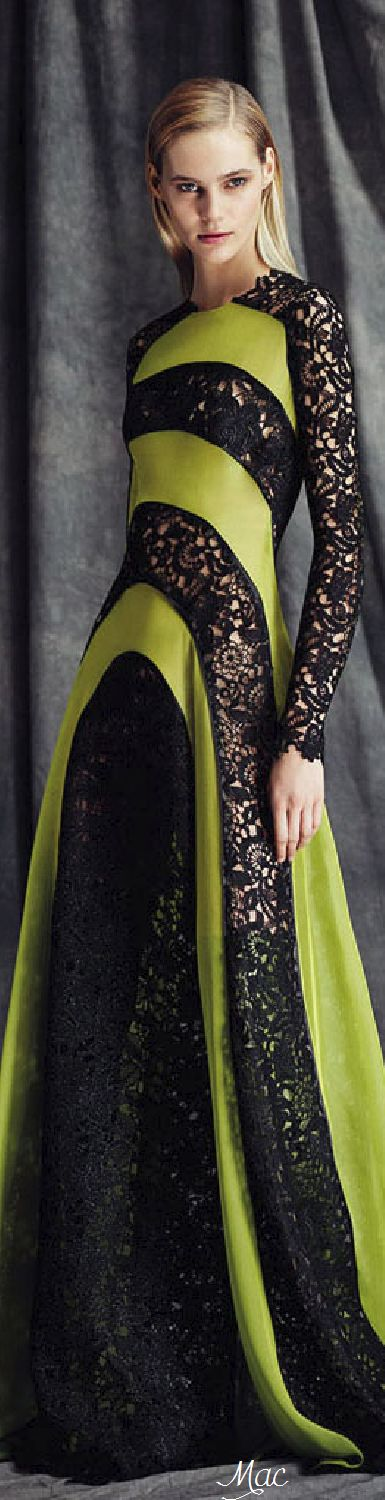 Sarli ~ Couture Black Embroidered Lace + Chartreuse Satin Gown 2015