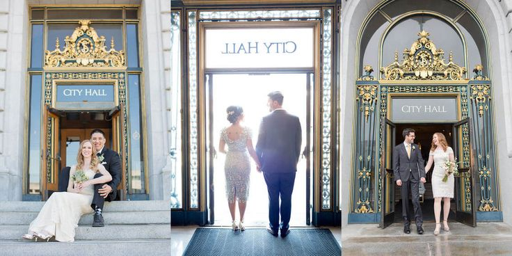 Entrance to San Francisco City Hall wedding photos by Red Eye Collection