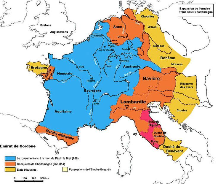 Carte rétrospective de l'empire carolingien sous Charlemagne (768-811)- TRAITE DE VERDUN, 2) LE PARTAGE DE VERDUN ET LES AJUSTEMENTS ULTERIEURS, 1: En aout 843, par le traité de Verdun, les 3 petits fils de Charlemagne, issus de son fils (loi salique), se partagent les territoires de l'Empire que ce dernier avait fondé: CHARLES LE CHAUVE reçoit la Francie occidentale, appelée France vers 1200.