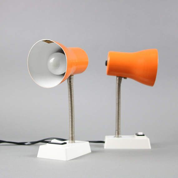 SIS lamp, Mid Century Modern orange table lamp by LeKosmosBerlin