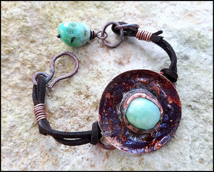 Bohemian Copper bracelet, hippie, boho chic, romantic, feminine, gift for her, chrysoprase nuggets, rustic, gypsy, heat patina, gemstone by KatalinaArt on Etsy