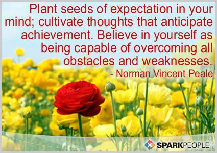 Plant seeds of expectation in your mind; cultivate thoughts that anticipate achievement. Believe in yourself as being capable of overcoming all obstacles and weaknesses.: Anticipation Quotes, Vincent Title, Sparkly People, Quotes Goals, Motivation Quotes, Sparkpeopl With, Sparkpeopl Motivation, Plants Seeds Quotes, Norman Vincent