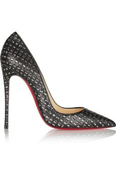 Christian Louboutin So Kate 120 cutout leather and tweed pumps | NET-A-PORTER