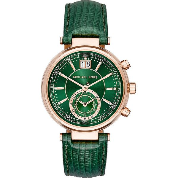 Michael Kors Watches Sawyer Watch (360 AUD) ❤ liked on Polyvore featuring jewelry, watches, green, green watches, chrono watch, chronograph watch, michael kors watches and buckle jewelry