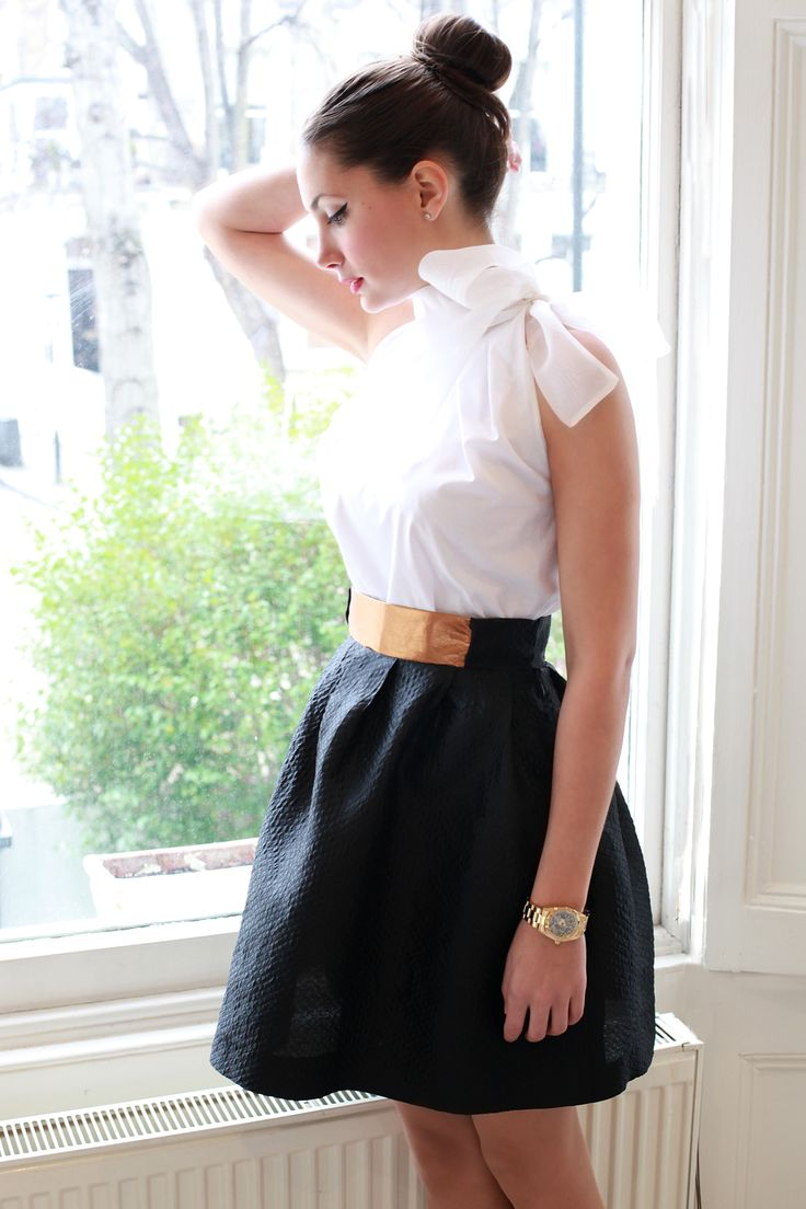Silk & Leather Skirt + big bow blouse by Etrala London