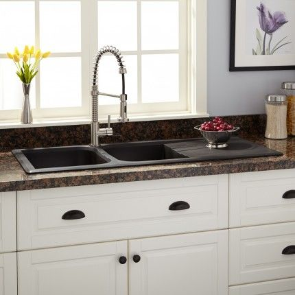 "46"" Owensboro Double-Bowl Drop-In Granite Composite Sink with Drain Board - Black"
