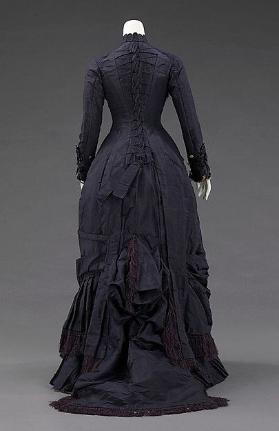 Dress (image 3)   Mrs. F. M. Carroll   American   1877   silk, mother-of-pearl   Brooklyn Museum Costume Collection at The Metropolitan Museum of Art   Accession Number: 2009.300.2432a, b