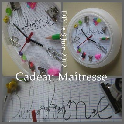 Horloge personnalisée pour la maîtresse