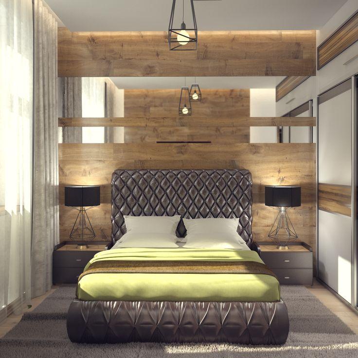Проект выполнен мной для молодой семьи. Сочетание деревянных панелей на стенах и светло-зеленые тона, придают уюта.