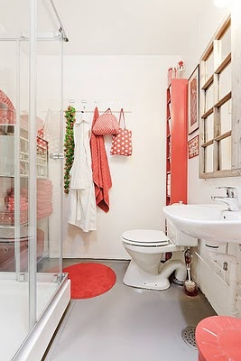 Pink And Red Small Bathroom