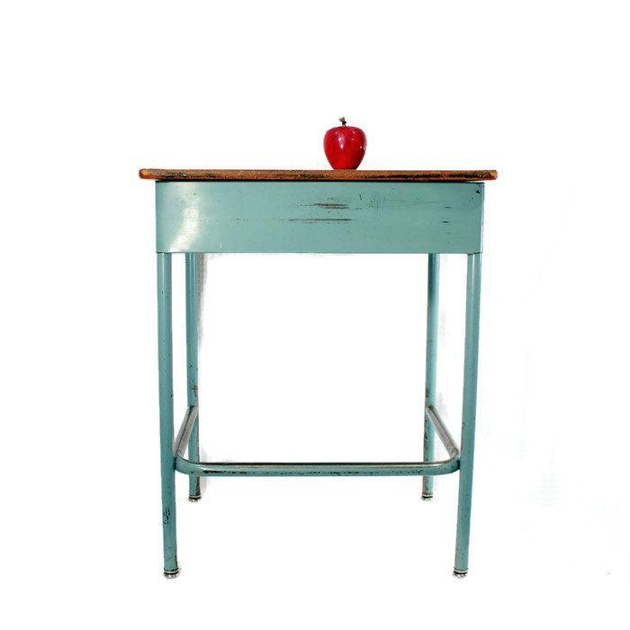 Vintage Metal Student Desk -Virco Mfg. - School Desk - Bedside Table - End Table - Industrial Decor - Teal Blue -Repurposed - Homeschool by CityBeepster on Etsy