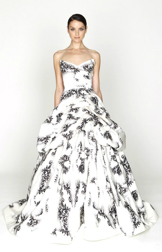 Monique Lhuillier 2012 Fall Collection. White with black lace print.